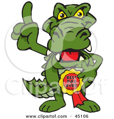 Royalty-free (RF) Clipart Illustration of a Gator Character Wearing A Best Dad Ever Ribbon by Dennis Holmes Designs