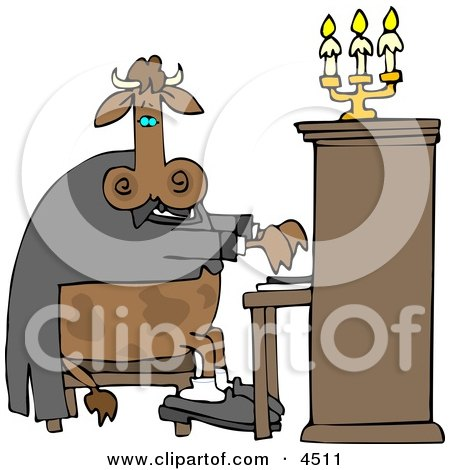 Cow Pianist Playing a Piano Clipart by djart