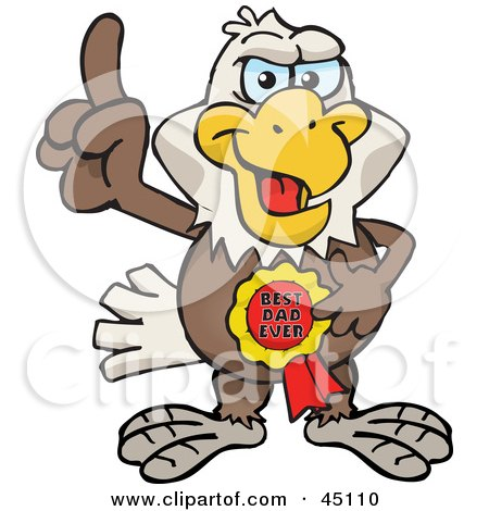 Royalty-free (RF) Clipart Illustration of a Bald Eagle Character Wearing A Best Dad Ever Ribbon by Dennis Holmes Designs