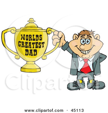 Royalty-free (RF) Clipart Illustration of a Caucasian Man Character Holding A Golden Worlds Greatest Dad Trophy by Dennis Holmes Designs