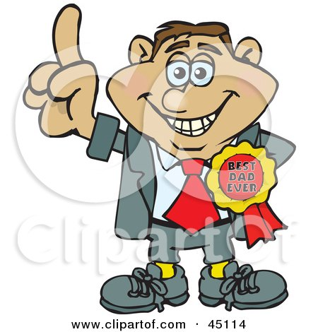 Royalty-free (RF) Clipart Illustration of a Proud Man Character Wearing A Best Dad Ever Ribbon by Dennis Holmes Designs