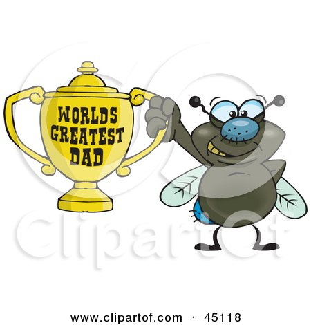 Royalty-free (RF) Clipart Illustration of a Housefly Character Holding A Golden Worlds Greatest Dad Trophy by Dennis Holmes Designs