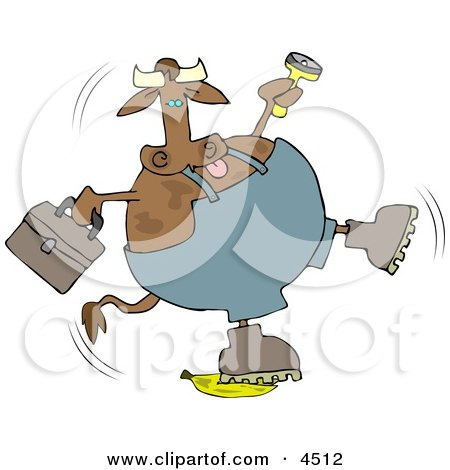 Repairman Cow Slipping On a Banana Clipart by djart