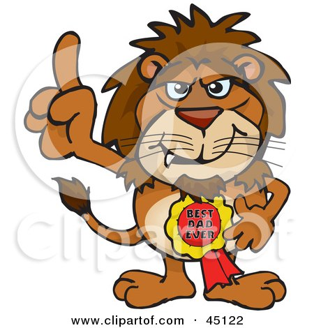 Royalty-free (RF) Clipart Illustration of a Lion Character Wearing A Best Dad Ever Ribbon by Dennis Holmes Designs