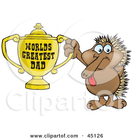 Royalty-free (RF) Clipart Illustration of an Echidna Character Holding A Golden Worlds Greatest Dad Trophy by Dennis Holmes Designs