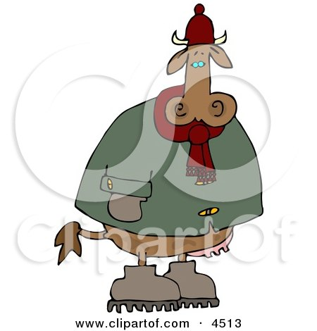 Cold Cow Wearing Winter Clothing and Hat Clipart by djart