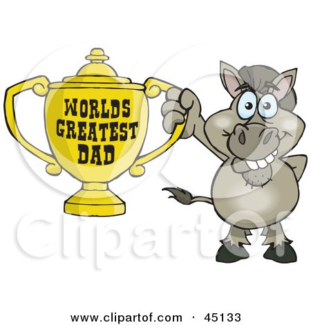 Royalty-free (RF) Clipart Illustration of a Donkey Character Holding A Golden Worlds Greatest Dad Trophy by Dennis Holmes Designs