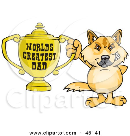 Royalty-free (RF) Clipart Illustration of a Dingo Character Holding A Golden Worlds Greatest Dad Trophy by Dennis Holmes Designs