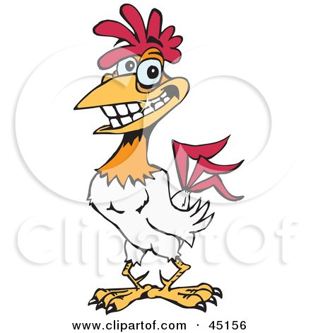 Royalty-free (RF) Clipart Illustration of a Red And White Rooster Character With Sparkling Teeth by Dennis Holmes Designs