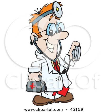Royalty-free (RF) Clipart Illustration of a Medical Doctor Carrying A First Aid Bag And Using A Stethoscope by Dennis Holmes Designs