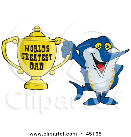 Royalty-free (RF) Clipart Illustration of a Marley Marlin Character Holding A Golden Worlds Greatest Dad Trophy by Dennis Holmes Designs