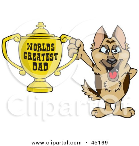 Royalty-free (RF) Clipart Illustration of a German Shepherd Dog Character Holding A Golden Worlds Greatest Dad Trophy by Dennis Holmes Designs