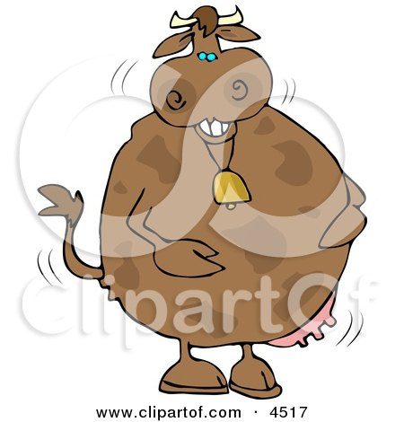 Anthropomorphic Laughing Cow Wearing a Bell Clipart by djart