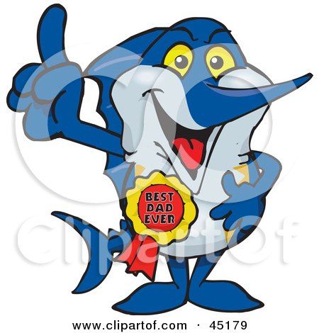 Royalty-free (RF) Clipart Illustration of a Marley Marlin Character Wearing A Best Dad Ever Ribbon by Dennis Holmes Designs