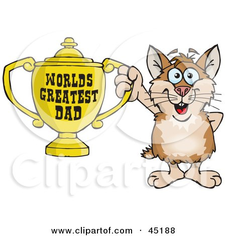 Royalty-free (RF) Clipart Illustration of a Hamster Character Holding A Golden Worlds Greatest Dad Trophy by Dennis Holmes Designs