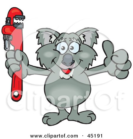Royalty-free (RF) Clipart Illustration of a Koala Character Holding A Red Wrench by Dennis Holmes Designs