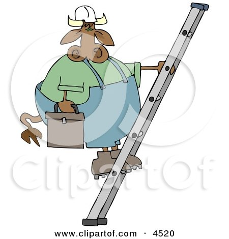 Repairman Cow Climbing Up a Ladder with a Toolbox Clipart by djart