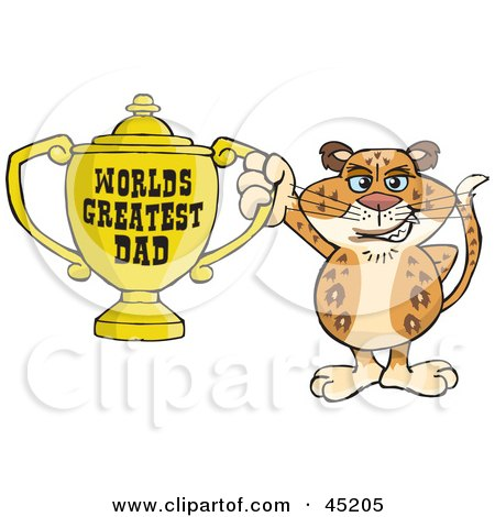 Royalty-free (RF) Clipart Illustration of a Leopard Wildcat Character Holding A Golden Worlds Greatest Dad Trophy by Dennis Holmes Designs