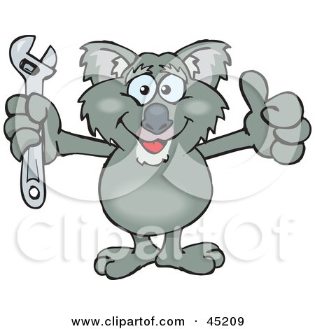Royalty-free (RF) Clipart Illustration of a Koala Character Holding A Spanner Wrench by Dennis Holmes Designs