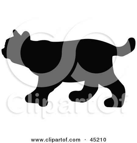 Royalty-free (RF) Clipart Illustration of a Profiled Black Bobcat Silhouette by JR
