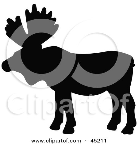 Royalty-free (RF) Clipart Illustration of a Profiled Black Moose Silhouette by JR