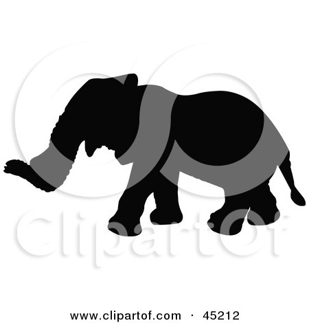 Royalty-free (RF) Clipart Illustration of a Profiled Black Elephant Silhouette by JR