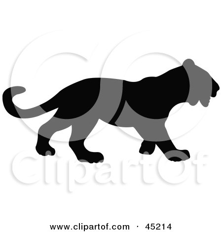 Royalty-free (RF) Clipart Illustration of a Profiled Black Panther Silhouette by JR
