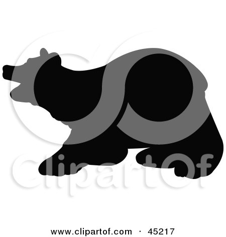 Royalty-free (RF) Clipart Illustration of a Profiled Black Bear Silhouette by JR