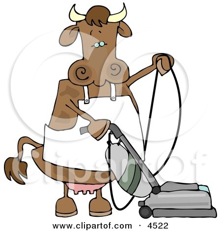 Housewife Cow Vacuuming the Floor Clipart by djart