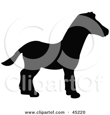 Royalty-free (RF) Clipart Illustration of a Profiled Black Zebra Silhouette by JR