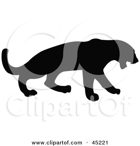 Royalty-free (RF) Clipart Illustration of a Profiled Black Leopard Silhouette by JR