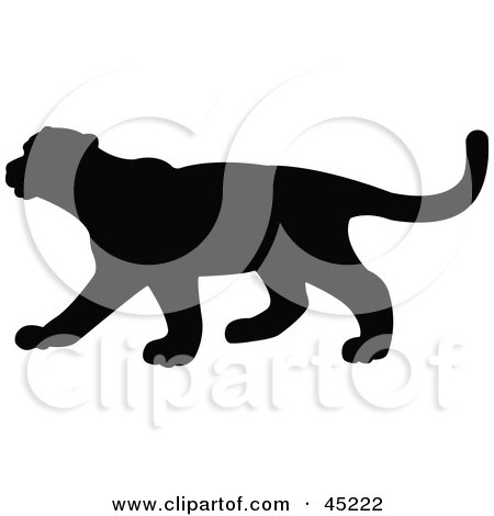 Royalty-free (RF) Clipart Illustration of a Profiled Black Puma Silhouette by JR