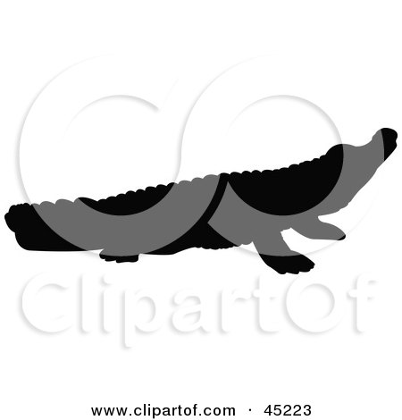 Royalty-free (RF) Clipart Illustration of a Profiled Black Crocodile Silhouette by JR