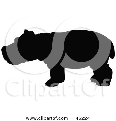 Royalty-free (RF) Clipart Illustration of a Profiled Black Hippo Silhouette by JR