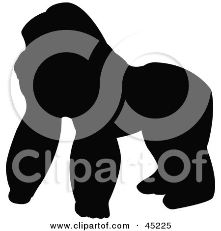 Royalty-free (RF) Clipart Illustration of a Profiled Black Gorilla Silhouette by JR