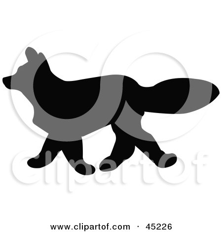 Royalty-free (RF) Clipart Illustration of a Profiled Black Fox Silhouette by JR