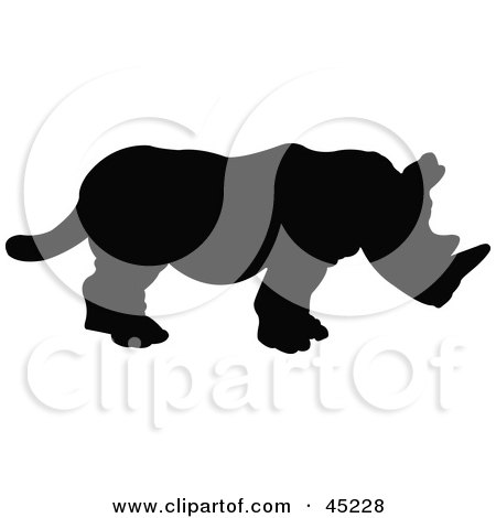 Royalty-free (RF) Clipart Illustration of a Profiled Black Rhino Silhouette by JR