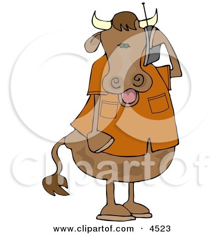 Human-like Male Cow Talking On a Cellphone Clipart by djart