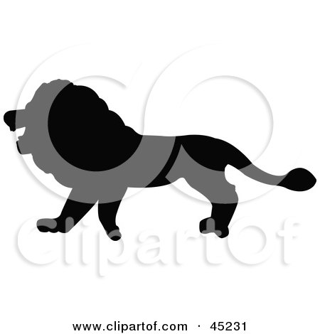 Royalty-free (RF) Clipart Illustration of a Profiled Black Lion Silhouette by JR