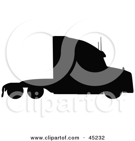 Royalty-free (RF) Clipart Illustration of a Profiled Black Big Rig Silhouette by JR