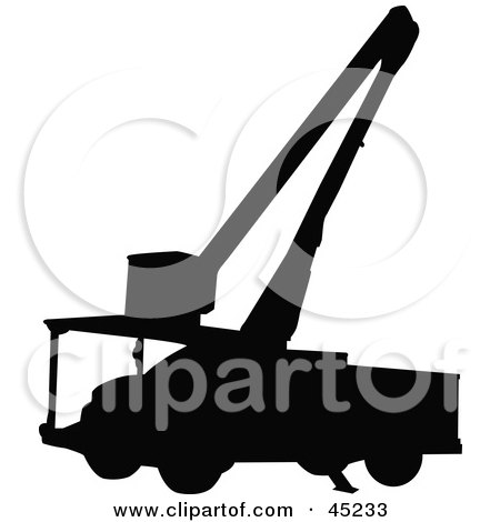 Royalty-free (RF) Clipart Illustration of a Profiled Black Utility Truck Silhouette by JR
