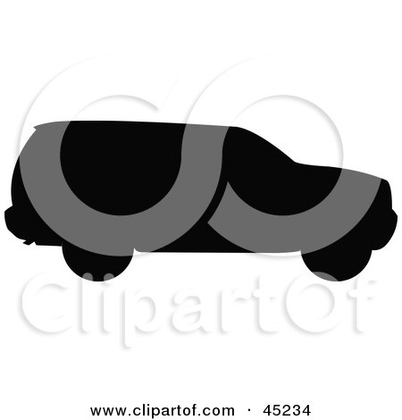 Royalty-free (RF) Clipart Illustration of a Profiled Black SUV Silhouette by JR