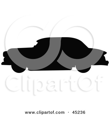 Royalty-free (RF) Clipart Illustration of a Profiled Black Vintage Car Silhouette by JR