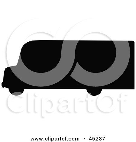 Royalty-free (RF) Clipart Illustration of a Profiled Black Delivery Van Silhouette by JR