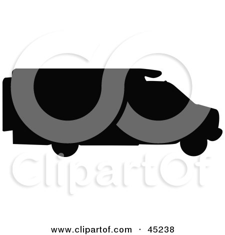 Royalty-free (RF) Clipart Illustration of a Profiled Black RV Silhouette by JR