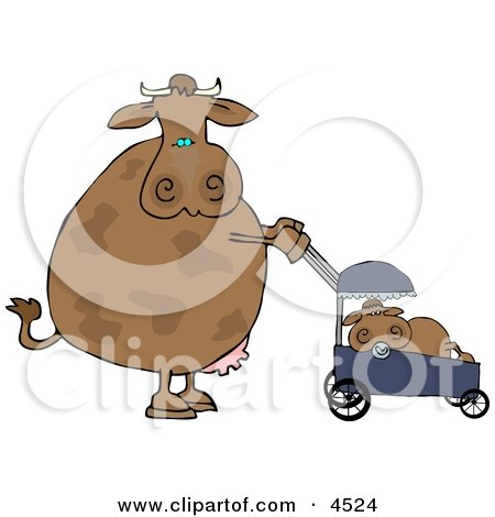 Mom Cow Pushing Her Calf in a Baby Stroller Posters, Art Prints