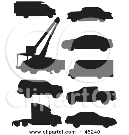 Royalty-free (RF) Clipart Illustration of a Digital Collage Of Black Vehicle Silhouettes by JR