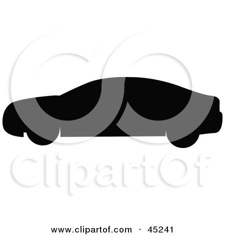 Royalty-free (RF) Clipart Illustration of a Profiled Black Car Silhouette by JR