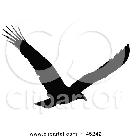 Royalty-free (RF) Clipart Illustration of a Profiled Black Soaring Eagle Silhouette by JR