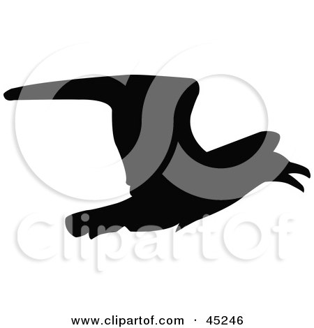 Royalty-free (RF) Clipart Illustration of a Profiled Black Crow Silhouette by JR